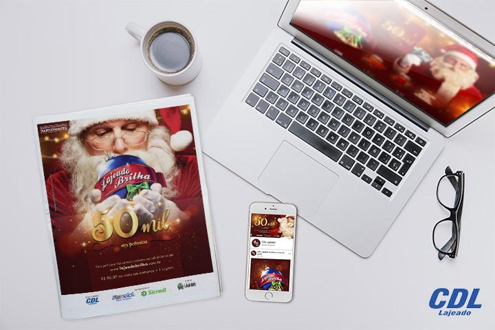 Mockup da campanha com exemplos no smartphone, no computador e impresso.
